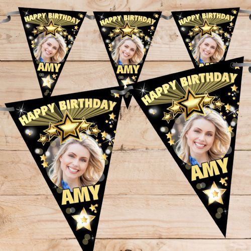 Personalised Black & Gold Stars Happy Birthday Flag PHOTO Bunting Banner - N68 ANY AGE